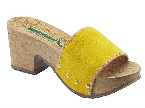 Bionatura 35a959 Crosta Pesante Giallo Fon - Sandalias de vestir de Piel para mujer amarillo