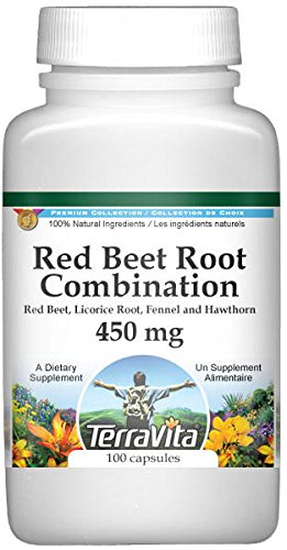 Red Beet Root Combination - Red Beet, Licorice Root, Fennel and Hawthorn - 450 mg (100 Capsules, ZIN: 513688)