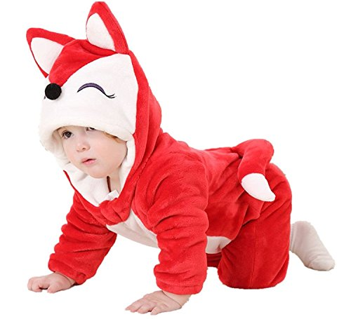 MerryJuly Toddler Unisex-baby Halloween Costume Animal Romper Onesie Outfits Suit Red Fox 90cm/(12-18 Months)