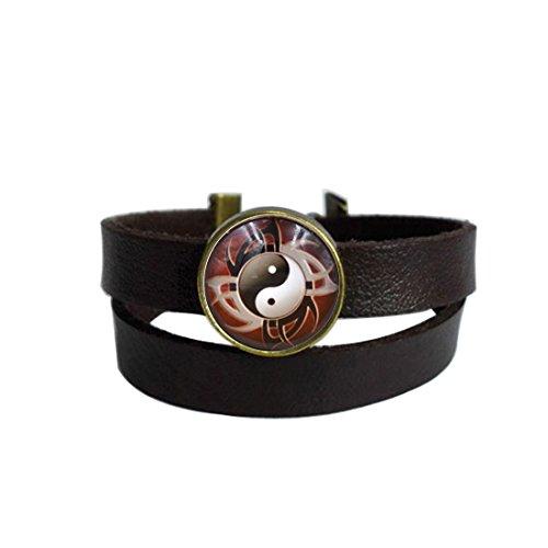 LooPoP Vintage Punk Dark Brown Leather Bracelet Yin Yang Tai Chi Gossip Belt Wrap Cuff Bangle Adjustable