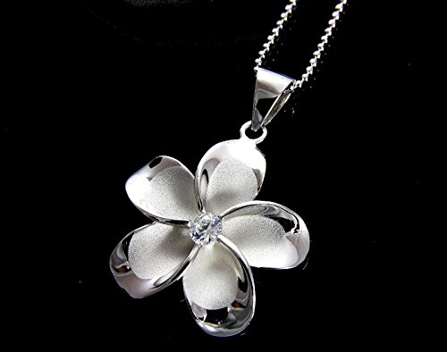 - jacob alex #60635 STERLING SILVER 925 HAWAIIAN FANCY PLUMERIA FLOWER PENDANT RHODIUM 15MM