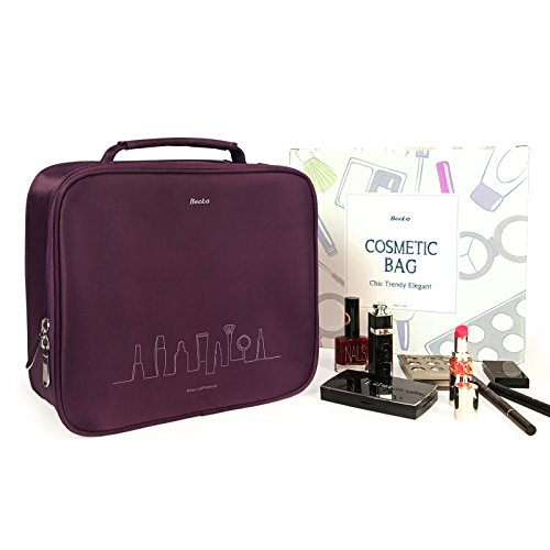 Becko Black Portable Travel Cosmetic Makeup Bag / Toiletry bag (Purple)]()