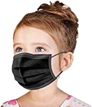 Kids Face Mask Disposable Black 50 PCS [US BRAND] Wanwane Ages 4-12 Childrens Breathable Safety Toddler Face M