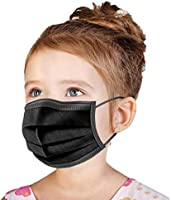 Kids Face Mask Disposable, [US BRAND] Wanwane Ages 4-12 Children Sized Breathable Mouth Cover Face Masks (Black)