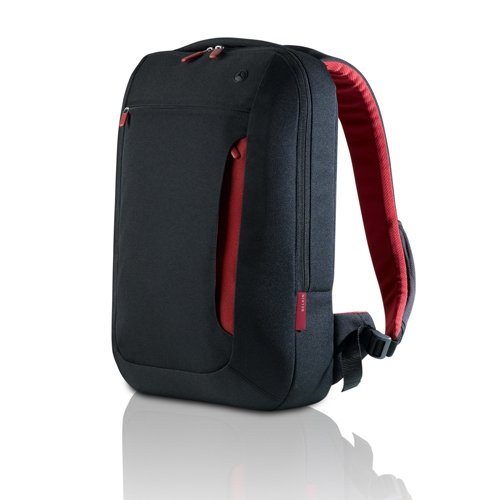 Belkin Notebook-Rucksack (geeignet für Notebooks bis zu 43,2 cm (17 Zoll)) kohlenschwarz/weinrot