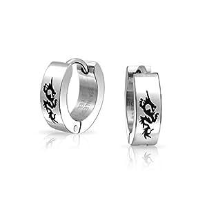 Grabado con láser Dragon Huggie Hoop Earrings para hombres o mujeres en tono plateado Acero Inoxidable 0.50 DIA