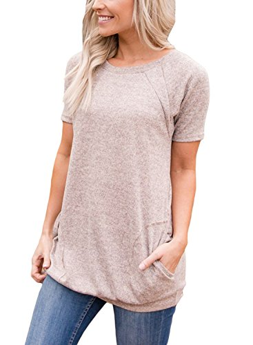HOTAPEI Ladies Short Sleeve Summer Tee Shirts Casual Round Neck Loose Tunic Blouse Tops for Women with Pockets Khaki Small