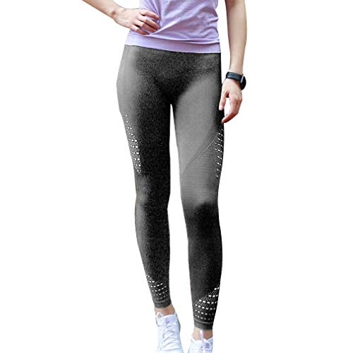 Mujer Moda Pantalones Deportivos, Cintura Elástico Pantalón Transpirables Casual Aptitud Slim Skinny Leggings Jeggings Pantalones Gris