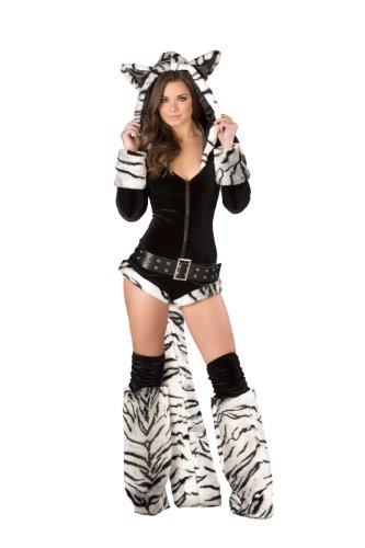 [J. Valentine Women's Black and White Tiger Romper, Black/Grey, Small] (White Tiger Costumes)