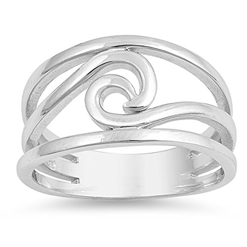 - Wave Cutout Ocean Sea Thumb Nature Ring New .925 Sterling Silver Band Size 8