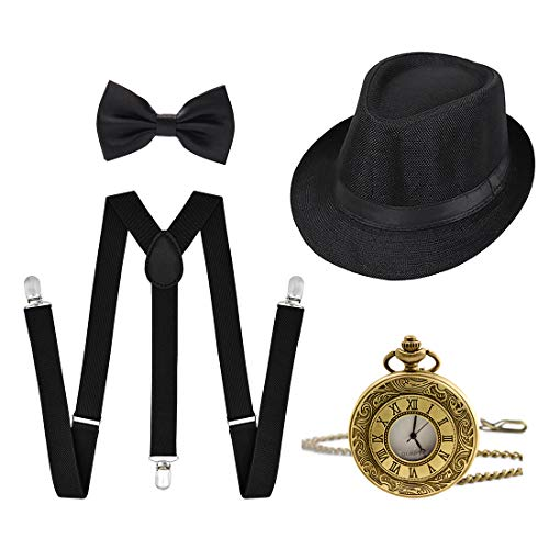 Ziyoot 1920s Accessories Men's Gatsby Gangster Costume Men Roaring 1920s Set Panama Y-Back Suspenders Bow Tie Black
