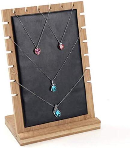 XWYSSH主催 ジュエリー収納ボックス竹のネックレス宝石用ディスプレイスタンドと木製の取り外し可能な棚 XWYSSH