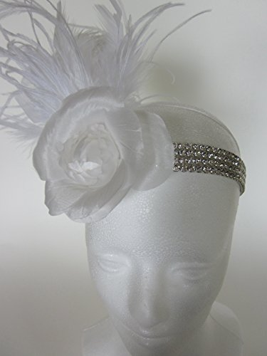 Custom Bridal White Headpiece, Wedding Rhinestone Headband, Satin flower Rhinestone Beading, White, Ivory, or Black Feathers, Flapper Headpiece 10+ Feather Color choices, Daisy Buchanan Gatsby Feather Fascinator -