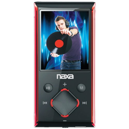 Naxa NMV-173 Portable Media Player with 1.8-Inch LCD Screen, Built-in 8GB Flash Memory and SD Card Slot (Red)