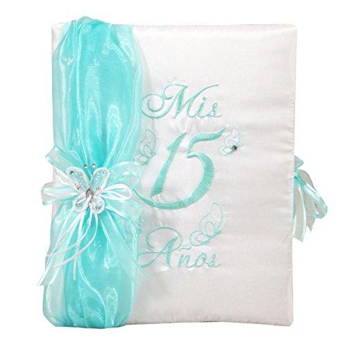 Choose From Aqua Color Quinceanera Photo Album Guest Book Kneeling Tiara Pillow Bible Q3104 (Guest book)