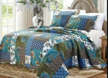 New Stitched Printed Patchwork Quilted Bedspread//Throw With 2 Pillow Cases GonZalo GraCia Meadow, Single