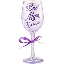 Lolita from Enesco Best Mom Ever Wine Glass, Multicolor