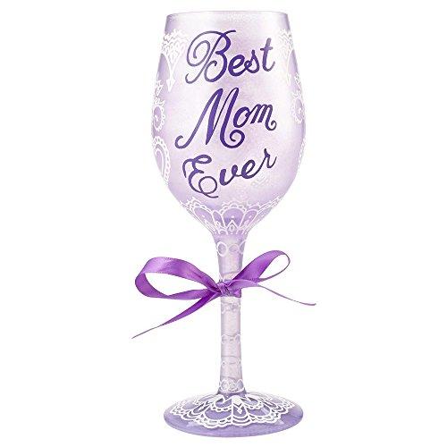 Lolita from Enesco Best Mom Ever Wine Glass, Multicolor (Lolita Purple Wine Glass)
