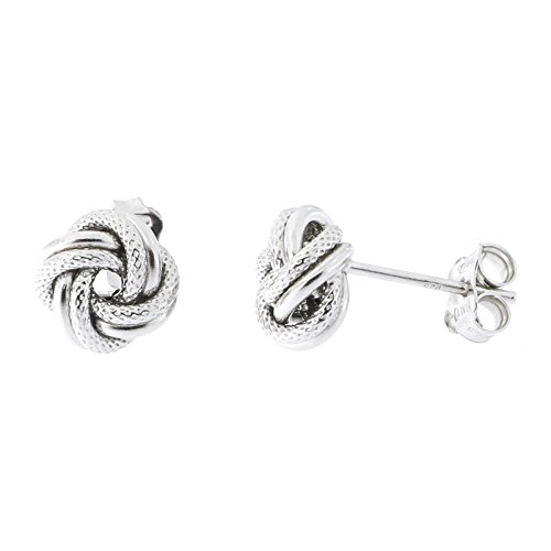 Sterling Silver Rhodium Plated Textured Love Knot Stud Earrings, 8mm (5/16 in)
