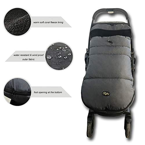 (Universal Baby Sleeping Bag, Windproof Waterproof Warm Soft Stroller Footmuff, 3-Season Outdoor Infant Toddler Footmuff for Pushchair, Jogger, Buggy, Front Piece Removable)