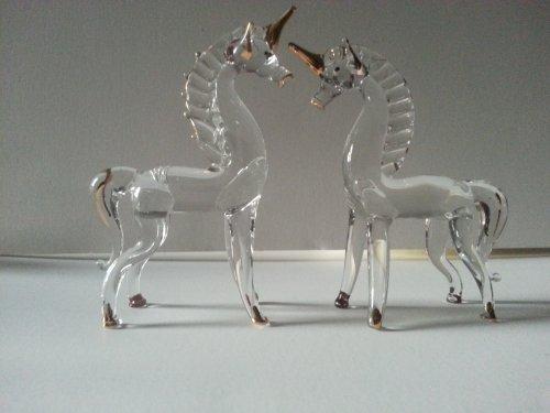 "Set of 2 Blown Glass Unicorn Figurine 3.25""h"