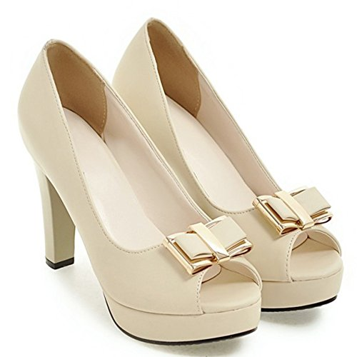 Easemax Womens Bows Dressy Chunky Tacchi Alti Slip On Wear To Work Platform Platform Peep Toe Pumps Beige