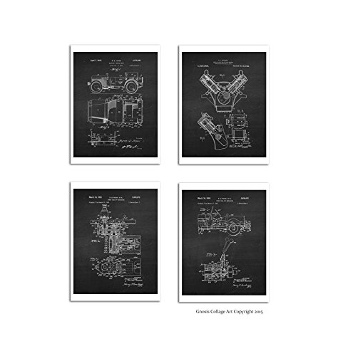 Willys Jeep Set of 4 Unframed Patent Art Prints, size 8x10