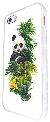 957 - Cool Cute Fun Panda Nature Wildlife Green Plants Flowers Kawaii Design iphone SE - 2016 Coque Fashion Trend Case Coque Protection Cover plastique et métal - Blanc