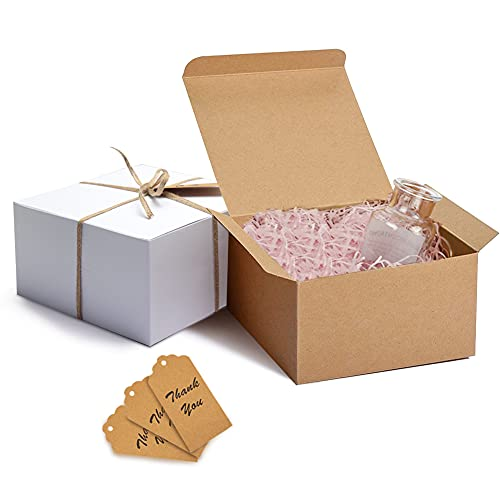 Starrky Kraft Paper Gift Boxes, 12PCS Kraft Paper Present Packaging Boxes 8 x 8 x 4 Inches Kraft Cardboard Gift Boxes for Christmas Bridesmaid Proposal Birthdays Weddings Crafting