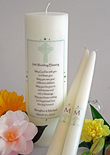 Traditional Unity Candle - Green Cross Irish Wedding Unity Candles