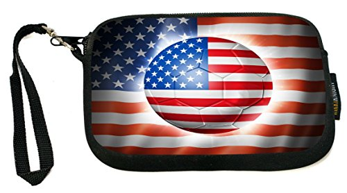 World Cup 2014 USA Team Football Soccer Flag - Neoprene Clutch Wristlet Coin Purse with Safety Closure - Ideal case for Cosmetics Case, Camera Case, Cell Phones, Passport, etc.. (Usa Brazil World Cup)