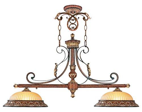 (Verona Bronze 2 Light 200W Island/Billiard Light with Medium Bulb Base and Rustic Art Glass from Villa Verona)
