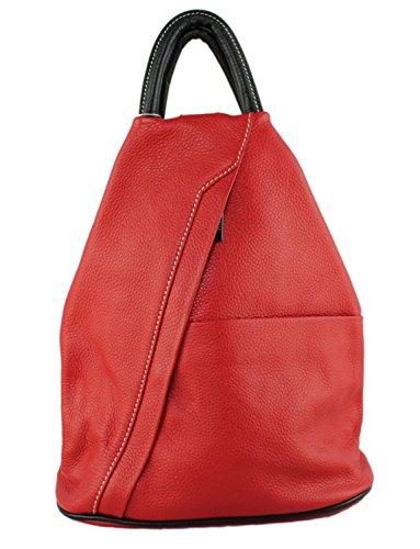 décontracté Sac en Sac épaule Style main Rouge cuir dos Daniela Moda et Cavalieri à italien noir pleine Designer fleur à wqO4YRnv