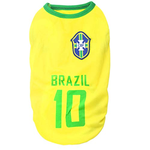 (XMSJSIY National Soccer Team Pet Dog Jersey T-Shirt,Pet Shirts Puppy Dog Vest Pet Clothing Costume Apparel Female Male Dogs & Cats Available-1pc(L: Length:35cm/ Bust:45cm, Brazil))