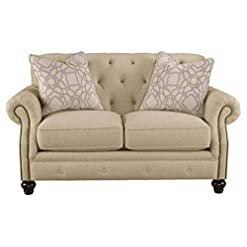 Farmhouse Living Room Furniture Signature Design by Ashley – Kieran Traditional Diamond Tufted Back Loveseat w/ 2 Pillows, Beige farmhouse sofas and couches