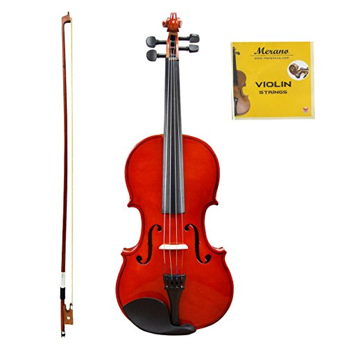 GRACE 4/4 (Full) Size Natural Acoustic Violin with Case and Bow+Rosin+Extra Set of Strings by Merano