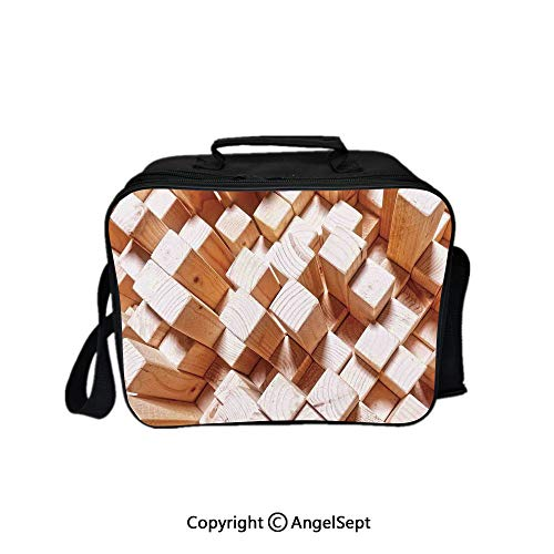 Multifunctional Lunch Bags for Women Wide Open,Natural Wooden Rustic Square Figures High and Low Oak Logs Timbre Design Sand Brown 8.3inch,Lunch Box With Double Deck Cooler Tote Bag
