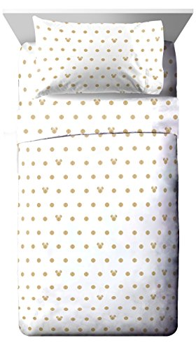 Disney Minnie Mouse Icon and Dots 4 Piece Full Sheet Set, - And Black Icons Gold