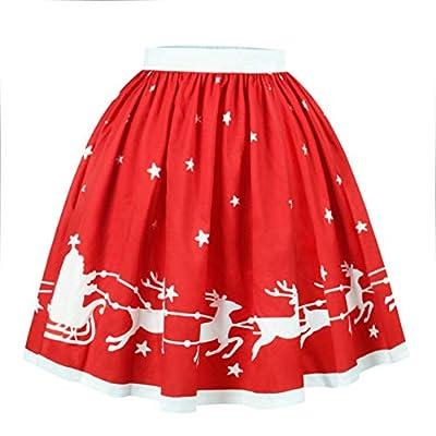 Meihuida Women Christmas Skirt Elastic Flared Pleated A-Line Mini Skater Skirt Xmas Skirts
