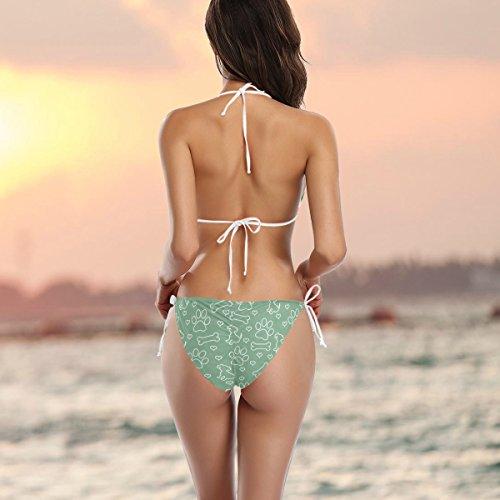 Ba Mujer Perro De Bikini Dos Multicolor Traje Alaza Con Set Hueso o Garra Piezas FqUxzU5tw