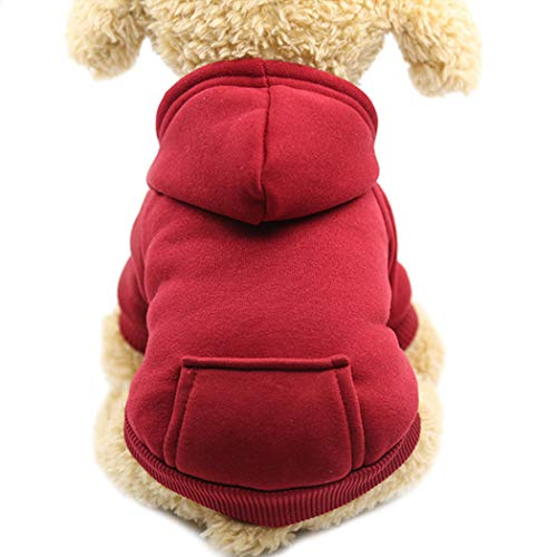 Idepet Dog Clothes Pet Dog Hoodies for Small Dogs Vest Chihuahua Clothes Warm Coat Jacket Autumn Puppy Outfits Cat Clothing Dogs Clothing (S, WineRed)