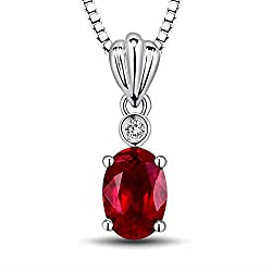 White Gold Diamond Ruby Wedding Pendant