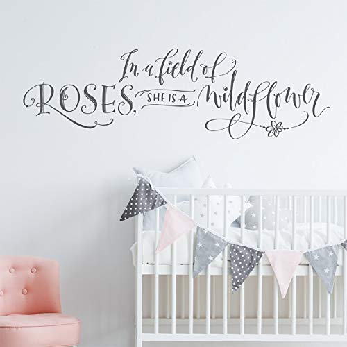 (Dozili Girls Room Wall Decor in A Field of Roses She is A Wildflower Wall Decal Hand Lettered Quote Modern Calligrapy Decal Nursery Decor 34