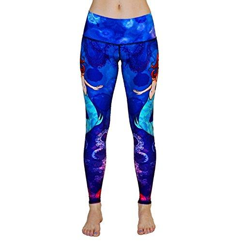 Old Bird New Mermaid Princess The legend of the blue sea Leggings Yoga Fitness Pants Gift (M,