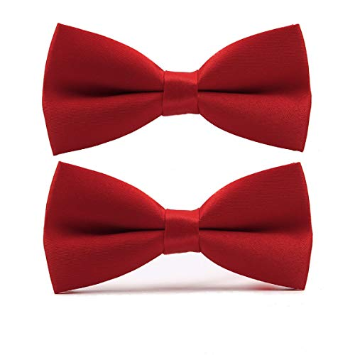 Wirarpa Small Pre-tied Bow Tie for Boys Kids Formal Solid Tuxedo Neck Bowtie Adjustable Length 2 Pack Red ()
