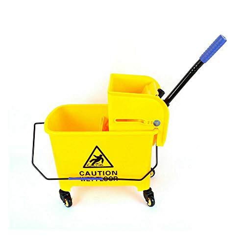 Schoonmaakwagen poetswagen kunststof, mobiele wisemmer, voor huishouden, hotels en scholen 20 liter (geel)