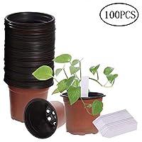 "100 Packs 3.5"" Plastic Flower Seedlings Nursery Pot/pots,100 PCS Waterproof Plastic Nursery Garden Labels Plant Tags"