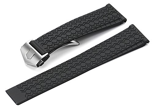 iStrap 22mm Black Rubber Strap Tyre Grain TAG HEUER Style Watch Band With Steel Deployment Clasp