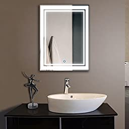 DECORAPORT 24 Inch * 32 Inch Vertical LED Wall Mounted Lighted Vanity Bathroom Silvered Mirror with Touch Button (A-CK160)