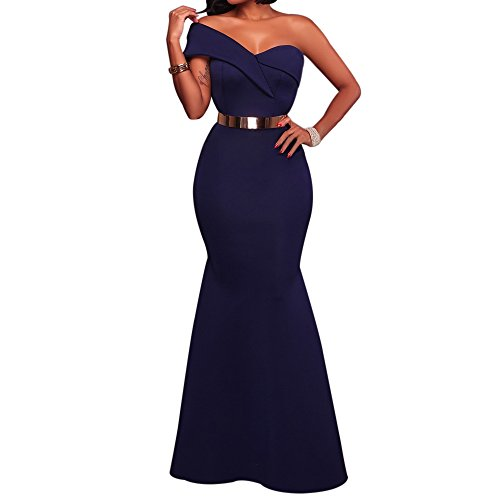 SEBOWEL Sexy Ponti Ruffles Mermaid Evening Dress for Women Formal Long Prom Dress Blue S